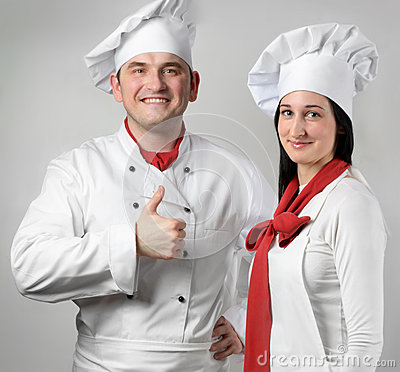 Chef man and  woman.