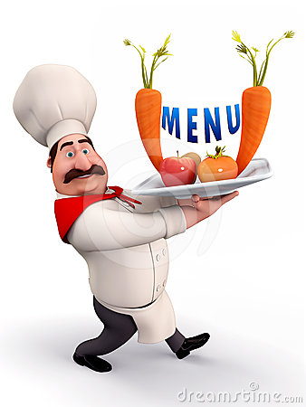 Chef with menu card
