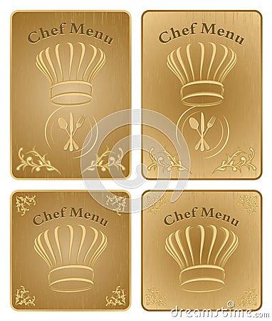 Chef menu cover or board - vector set
