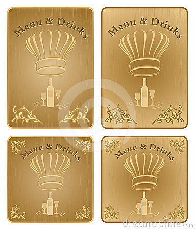 Chef menu and drinks cover or board - vector set