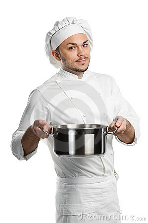 Chef with metal kitchen pan