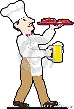 Chef with a mug of beer and food tray