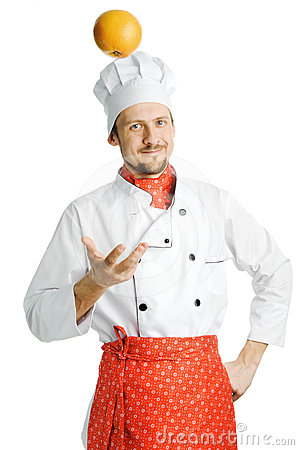 Chef with orange
