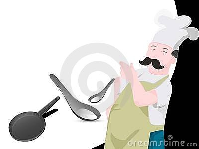 Chef with pan and spoon