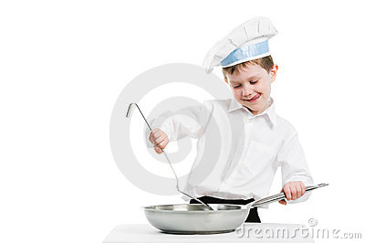 Chef with pan and trowel isolated