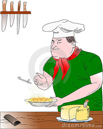 Chef with pasta dish