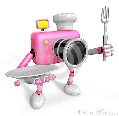 Chef Pink Camera Character right hand, Plate in the left hand ho