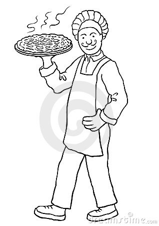 Chef with pizza (vector)