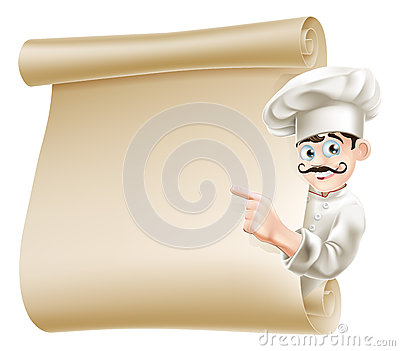Chef pointing at menu