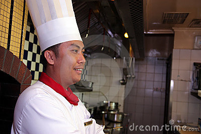 Chef pose at work