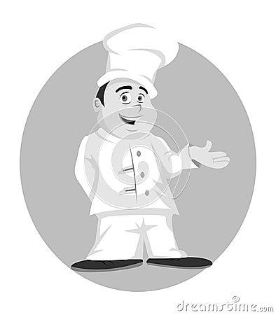 Chef posing grayscale