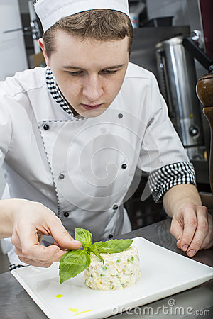 Chef prepares meal
