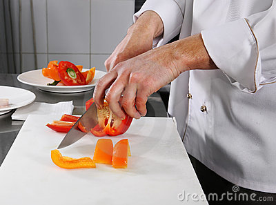 Chef preparing pepper