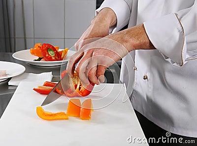 Chef preparing pepper