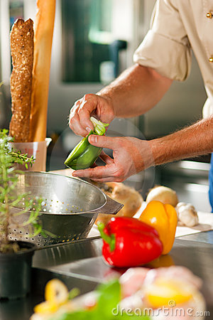 Chef preparing vegetables