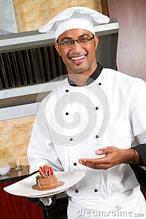 Chef present food