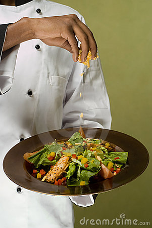 Chef Presenting Healthy Chicken Salad