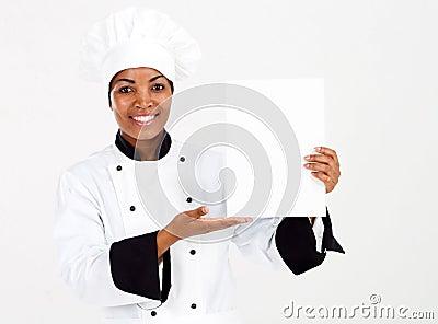 Chef presenting menu