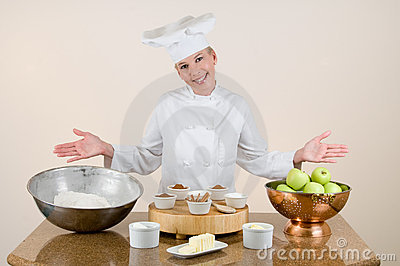 Chef Presents Apple Pie Ingredients