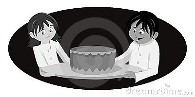Chef s cake grayscale