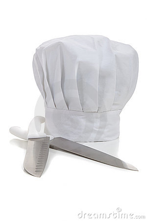 A chef s hat with cooking knifes