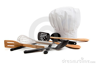 Chef s toque with various cooking utensils