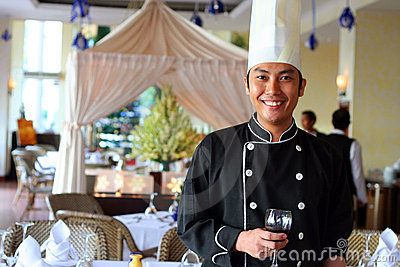 Chef salute at restaurant
