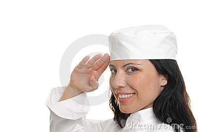 Chef Saluting on white
