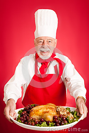Chef Serves Turkey Dinner