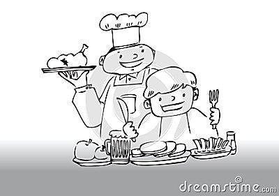 Chef serving dinner