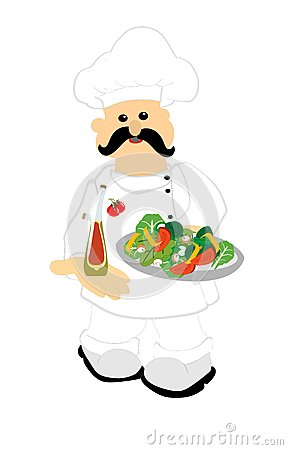 Chef Serving Up A Fresh Salad Royalty Free Stock Photo - Image: 23990455