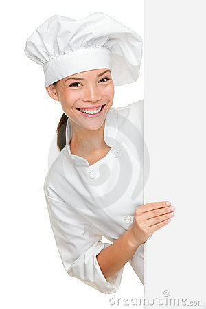 Chef showing blank sign