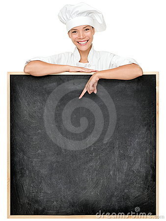 Chef showing menu sign