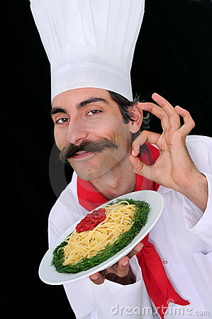 A Chef Showing Pasta