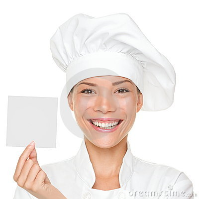 Chef showing sign card