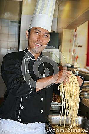 Chef showing spaghetti