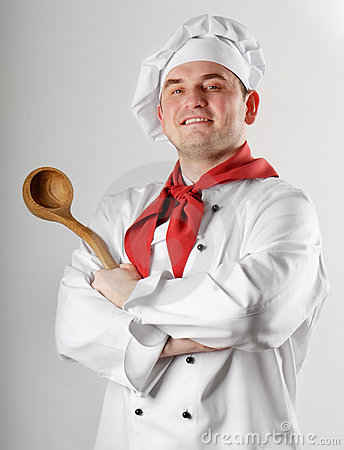 Chef showing spoon