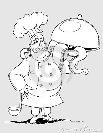 Chef with signature dishes of tentacles. Freehand