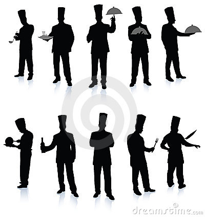 Free Chef Silhouette Collection Stock Photo - 12241740