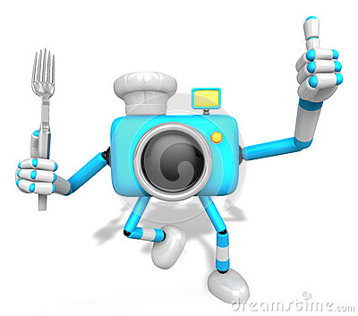 Chef Sky blue Camera Character left hand fork. The best gesture