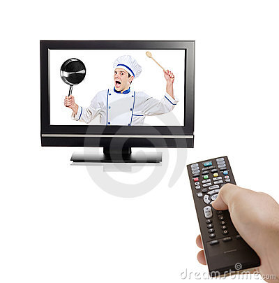 Chef struggling to escape from inside a TV