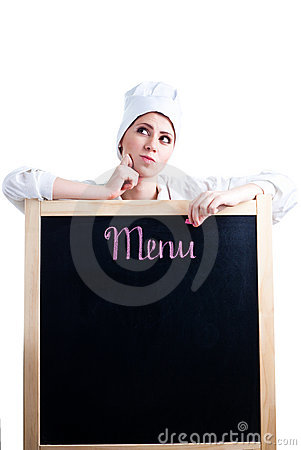 Free Chef Thinking About Menu Royalty Free Stock Image - 13777286