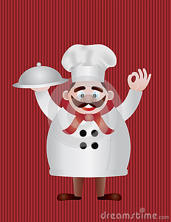 Chef with Tray Illustration