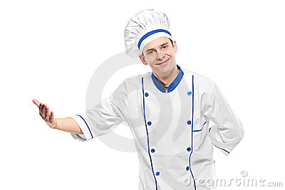 A chef welcoming