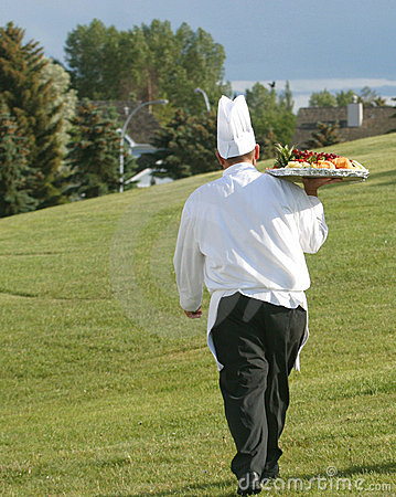 Free Chef With Tray Of Food Royalty Free Stock Photo - 55255
