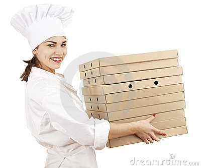 Chef woman with boxes of pizza