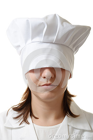 Chef woman hiding her eyes