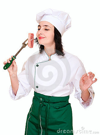Chef woman smell fresh meat chunk