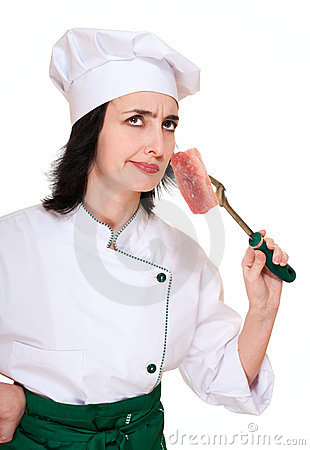 Chef woman smell stale meat chunk