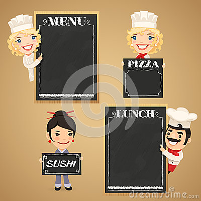 Free Chefs Cartoon Characters With Chalkboard Menu Royalty Free Stock Photo - 40970895
